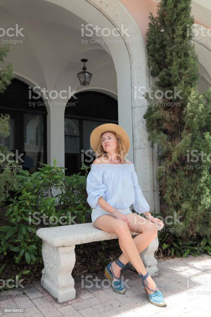 Woman in backyards. stock photo