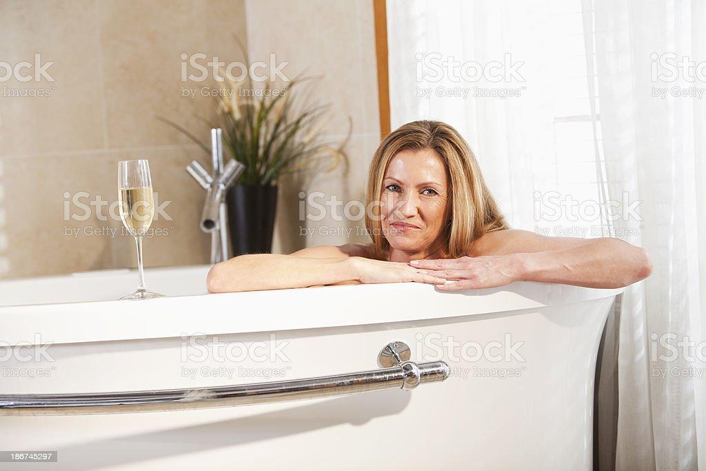 Woman in bathrobe royalty-free stock photo