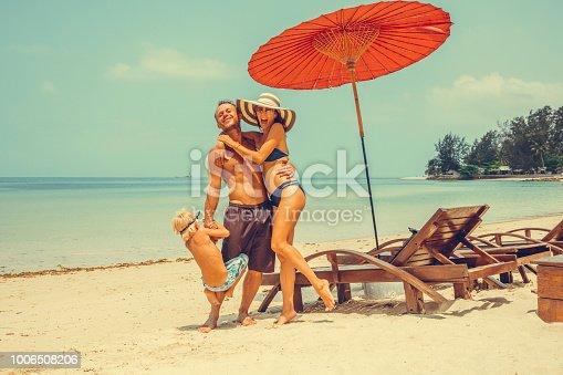 Woman in a tropical beach chair