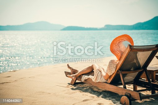 Woman posing at tropical beach