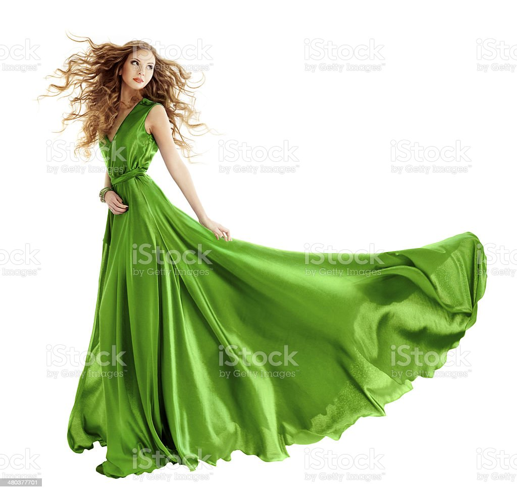 Woman in beauty fashion green gown, long evening dress stock photo