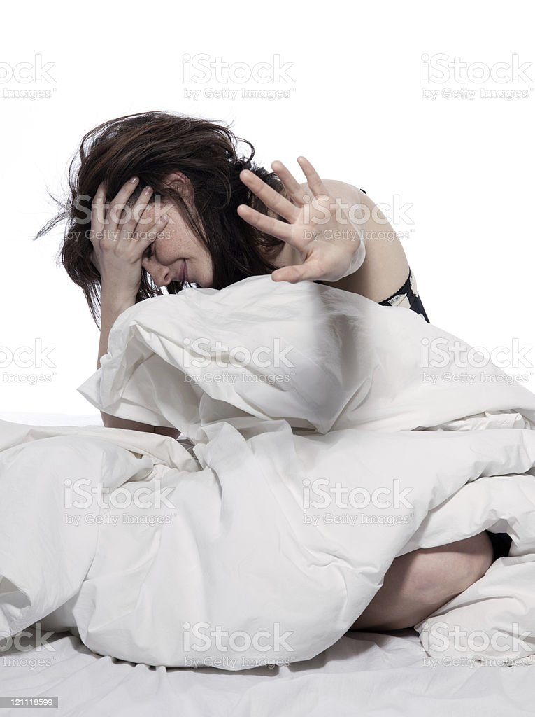 woman in bed awakening royalty-free stock photo
