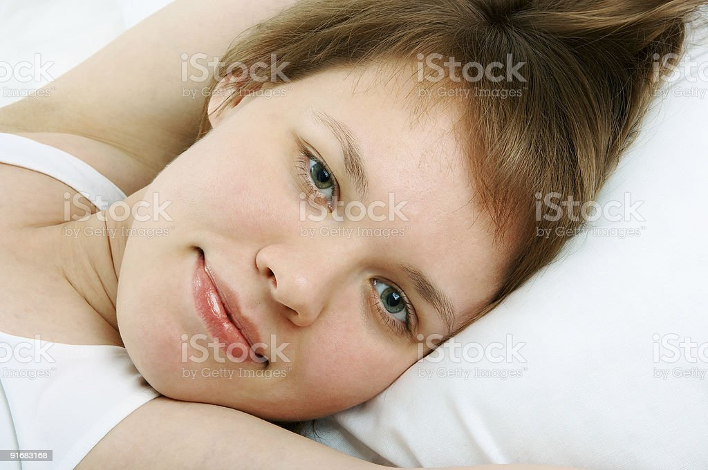 woman in bed royalty-free stock photo