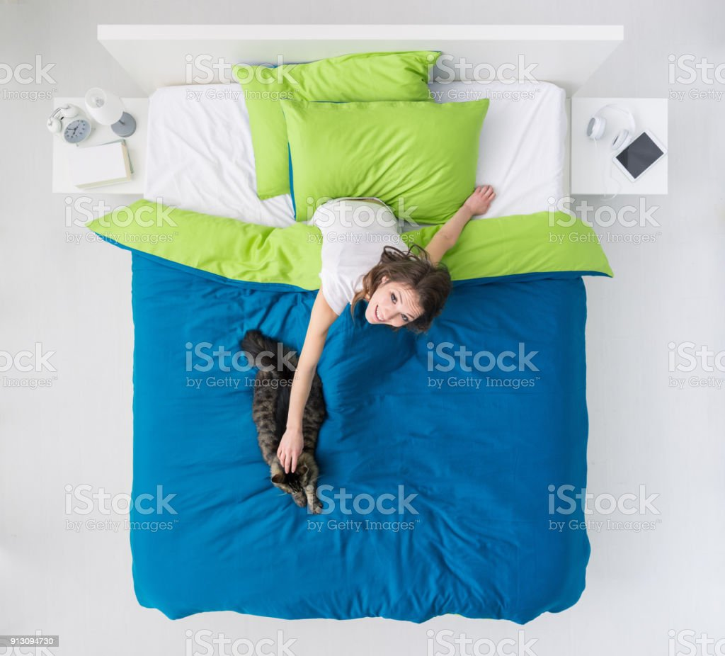 Woman in bed with her cat stock photo
