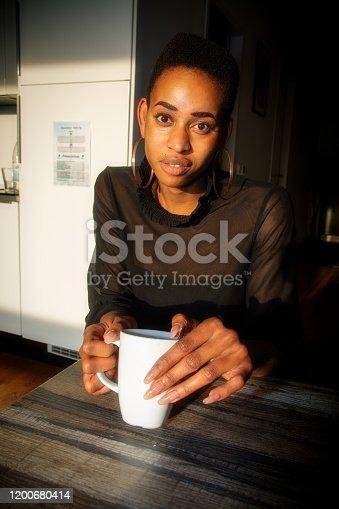 One woman drinking coffee in Berlin