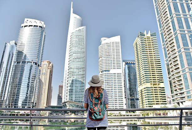 woman in big city stock photo