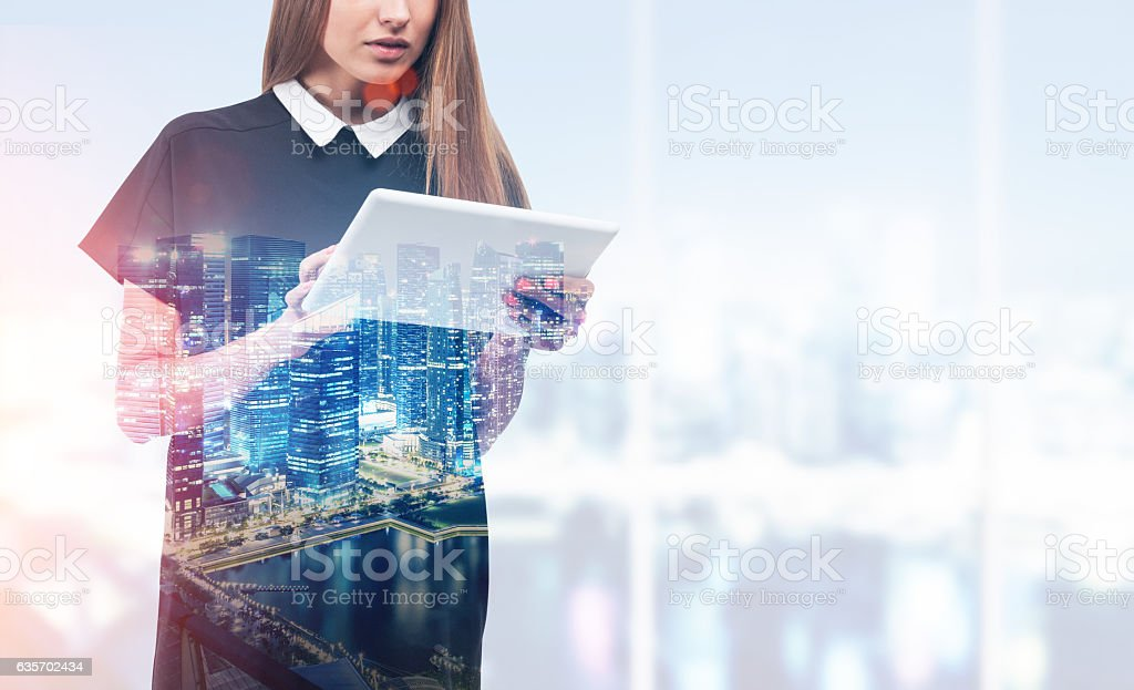 Woman in black against cityscape royalty-free stock photo