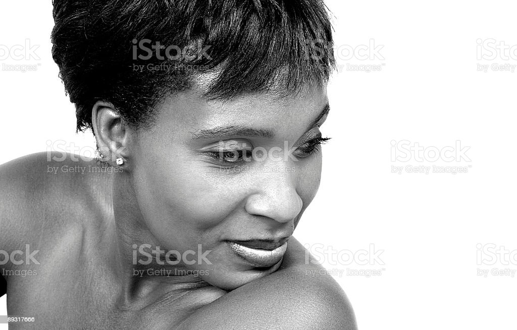 woman in black and white stock photo