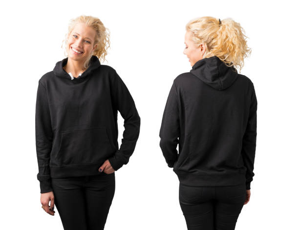 Woman in black blank hoodie on white background stock photo