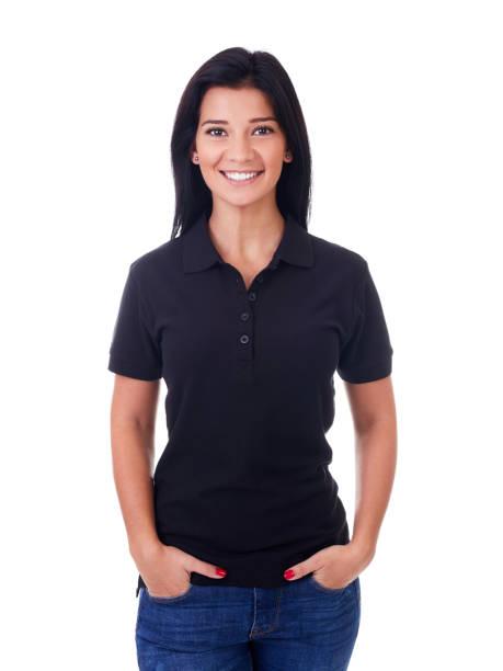 Woman in black polo shirt stock photo