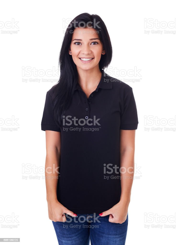 Woman in black polo shirt stock photo