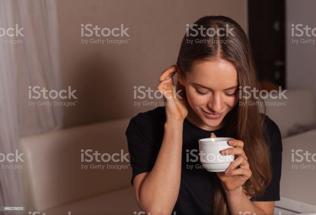 Woman in black t-shirt 免版稅 stock photo