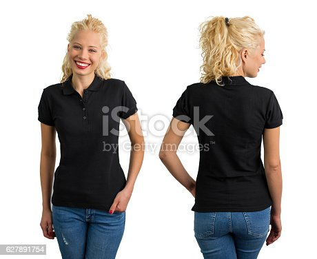 istock Woman in black V-neck polo T shirt 627891754