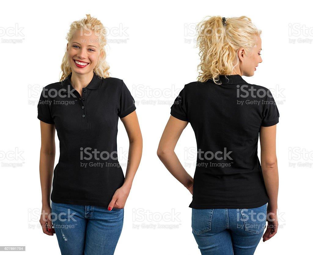 Woman in black V-neck polo T shirt stock photo