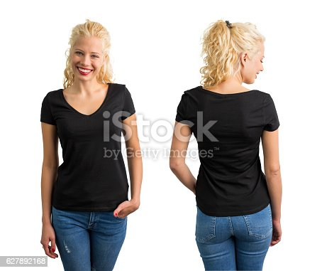istock Woman in black V-neck T-shirt 627892168