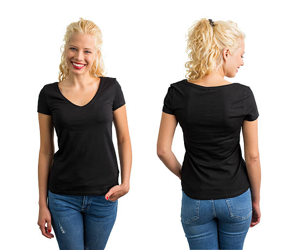 Woman in black V-neck T-shirt stock photo