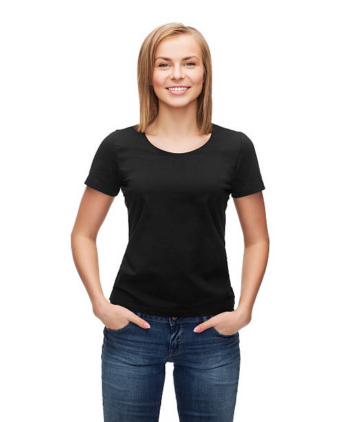 woman in blank black t-shirt t-shirt design, happy people concept - smiling woman in blank black t-shirt black shirt stock pictures, royalty-free photos & images