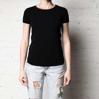 woman in blank black t-shirt