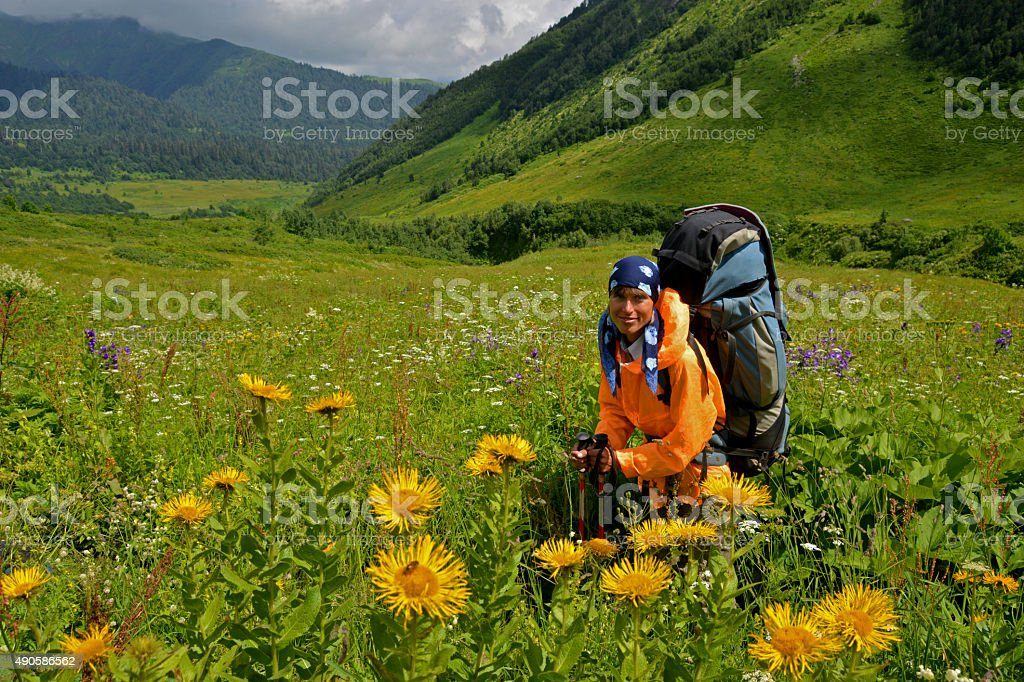 woman in blossomy valley stock photo