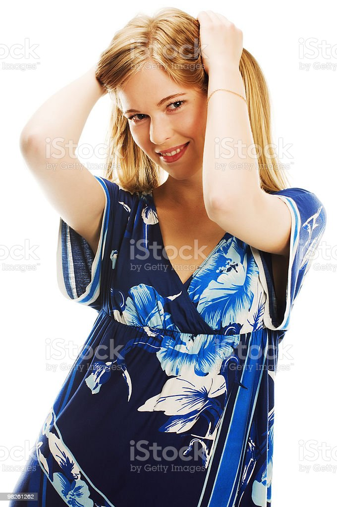 Woman in blue royalty-free stock photo