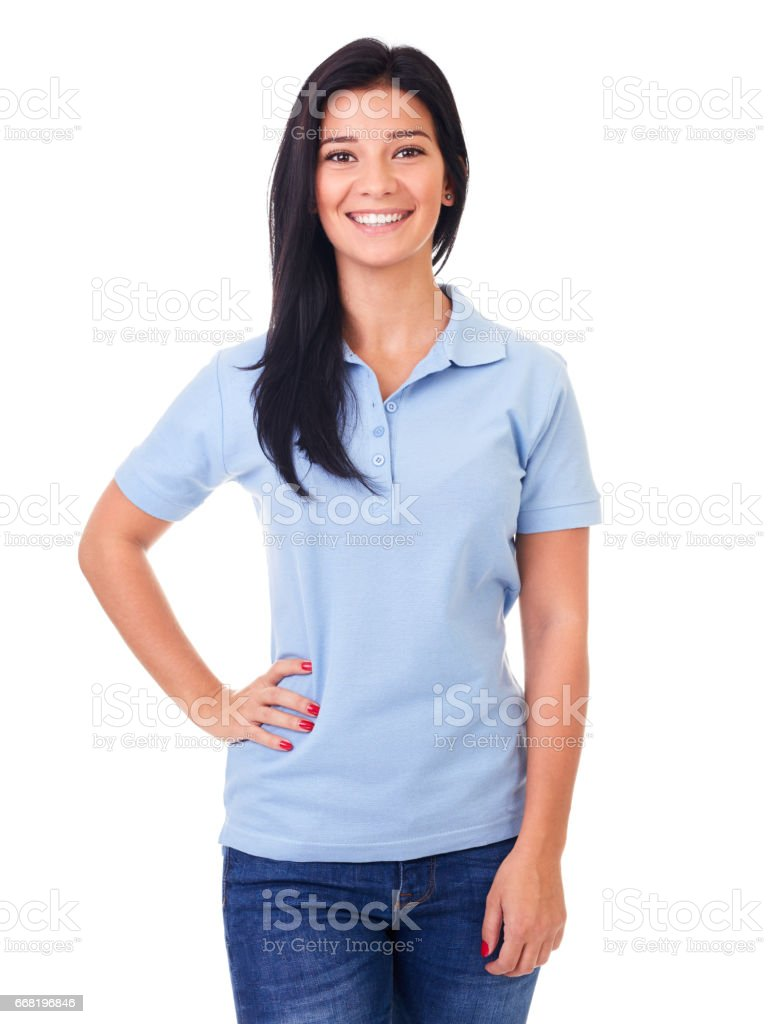 Woman in blue polo shirt on a white stock photo