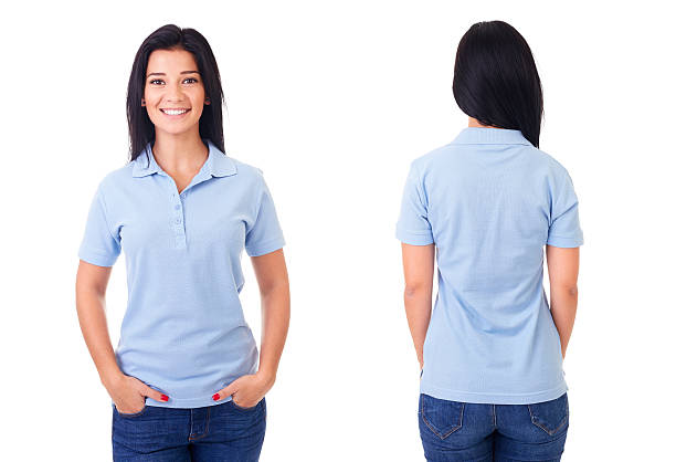 Woman in blue polo shirt stock photo