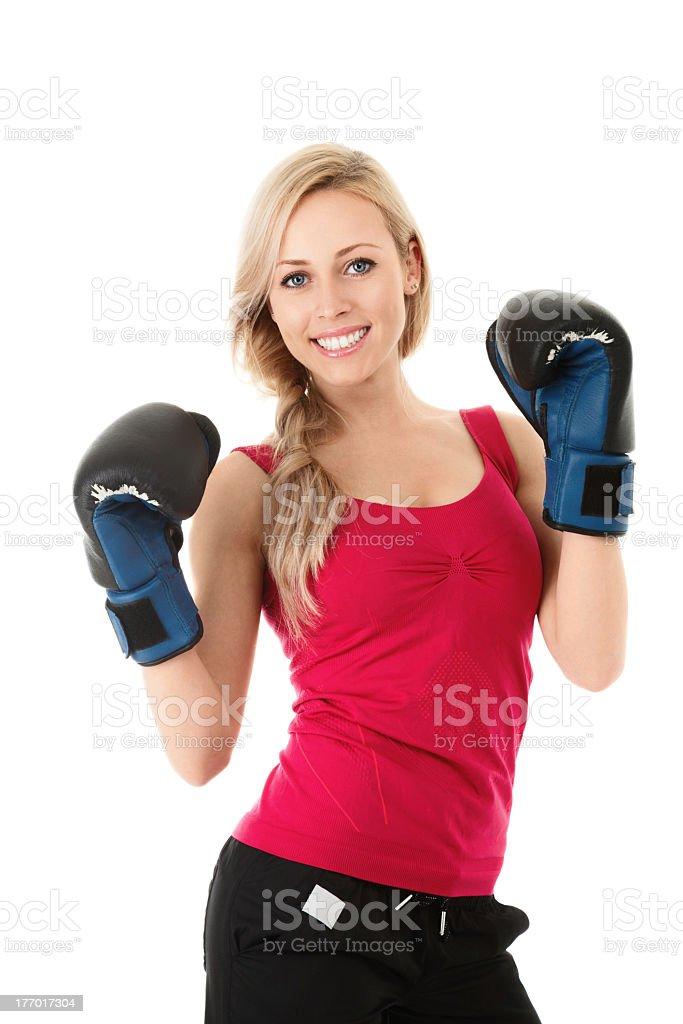 Mulher em luvas de boxe - foto de acervo