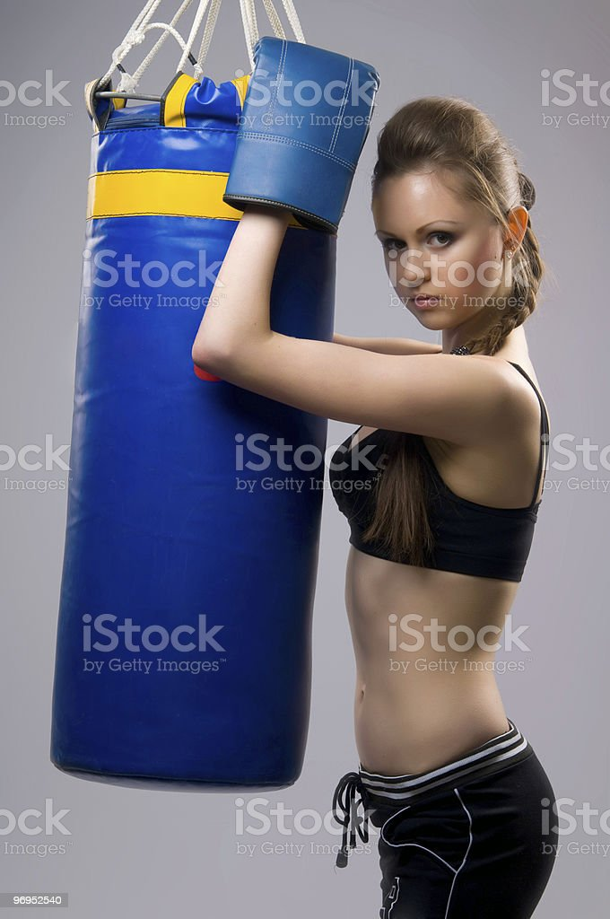 woman in boxing gloves royalty-free stock photo