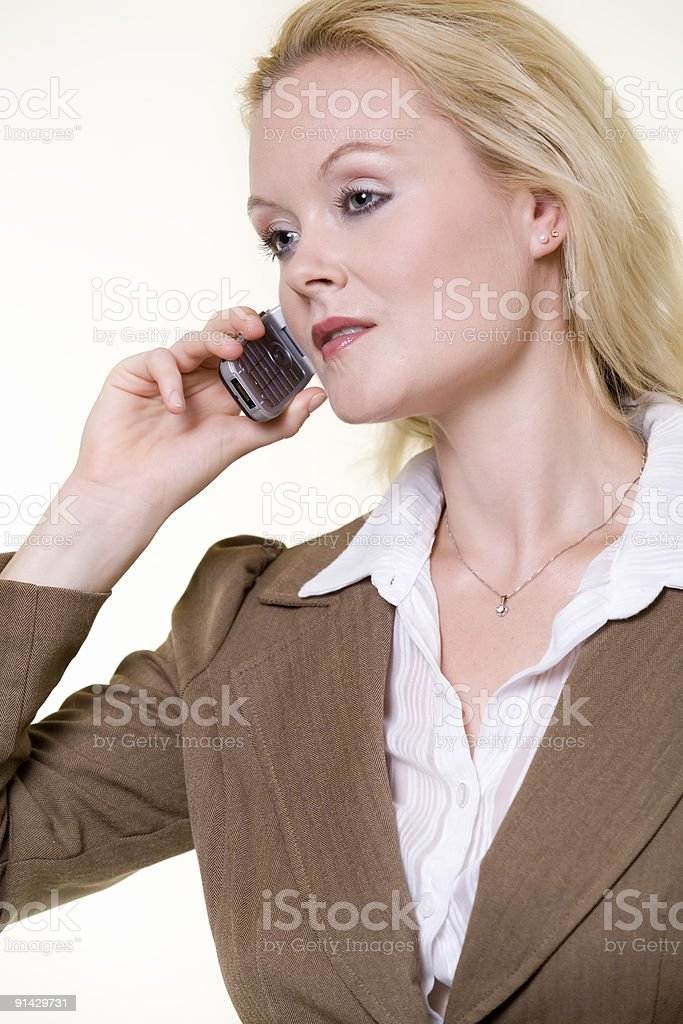 Woman in brown business suit royalty-free stock photo