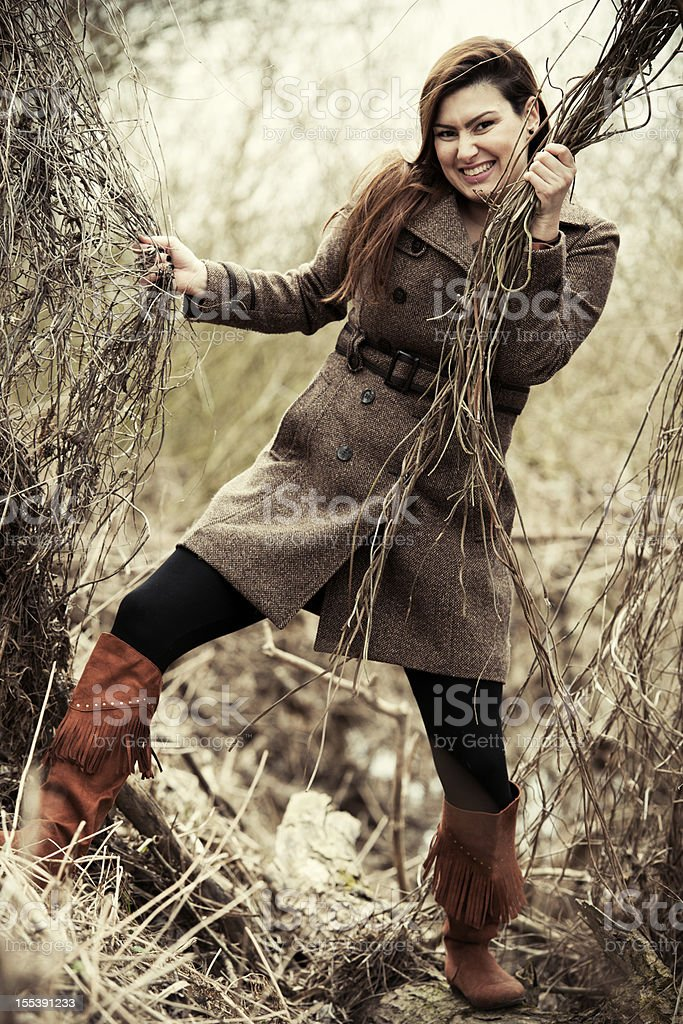 Woman in bush royalty-free stock photo