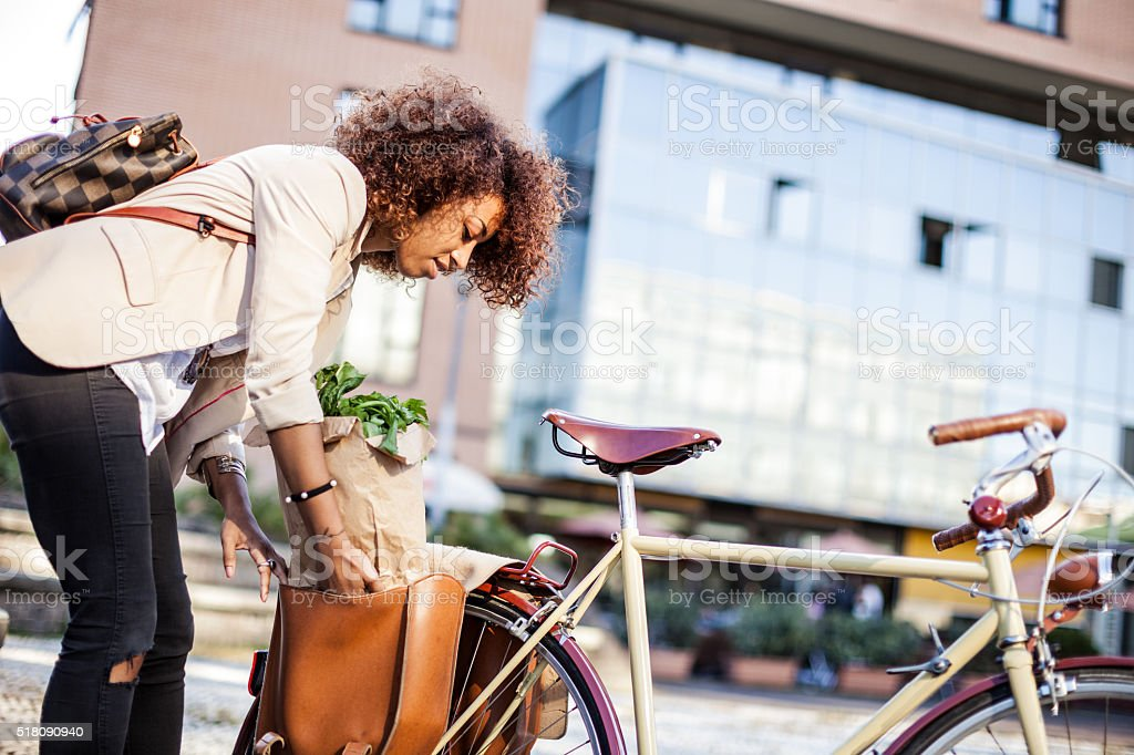 Woman in business busy city life stock photo