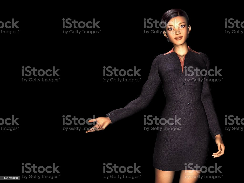 woman in business dress, black background stock photo
