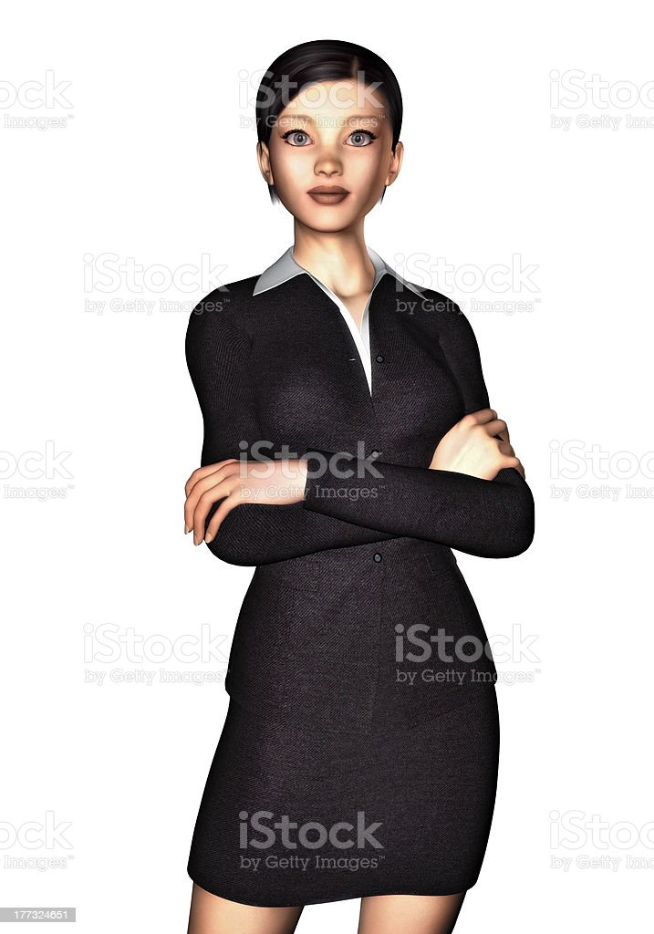 woman in business dress, white background 4 stock photo