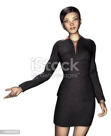 istock woman in business dress, white background 146906952