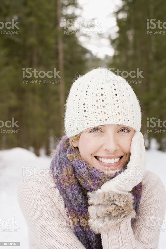 Woman in cap outdoors royalty-free stock photo
