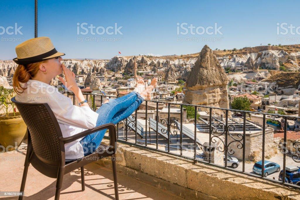 Woman in Cappadocia stock photo