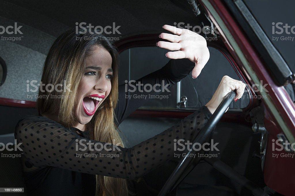 Woman in Car Crash stock photo