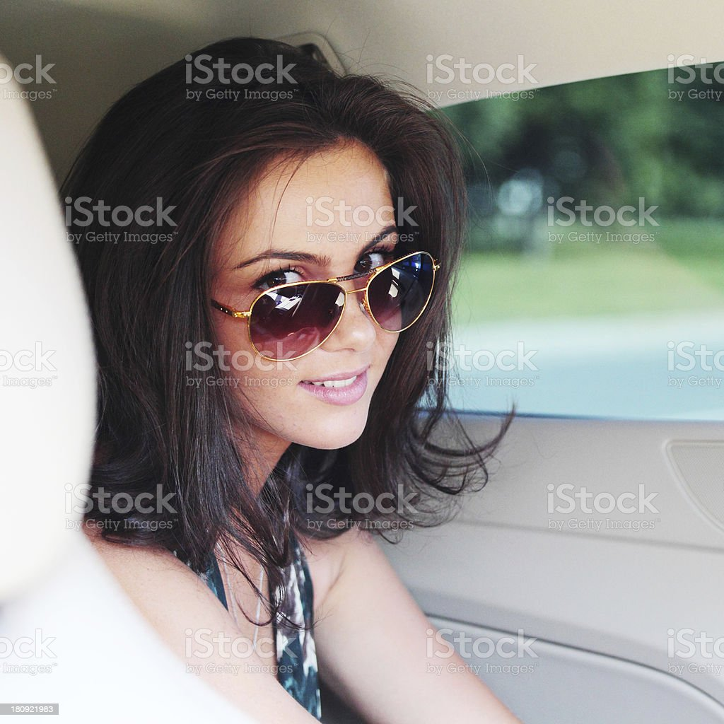 woman in car interior royalty-free stock photo