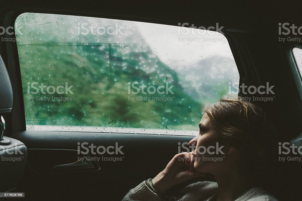 Woman in car stock photo