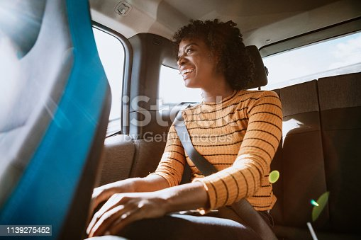 istock Woman In Car Rideshare In City of Los Angeles 1139275452