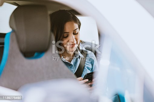 istock Woman In Car Rideshare In City of Los Angeles 1139275492