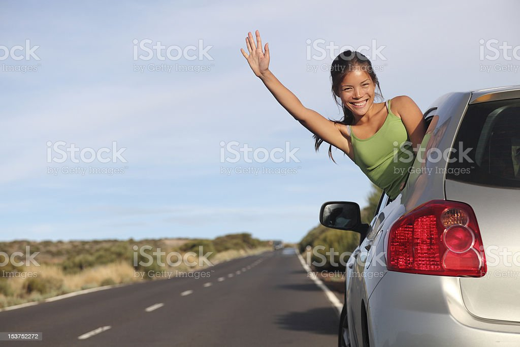 Woman in car road trip royalty-free stock photo