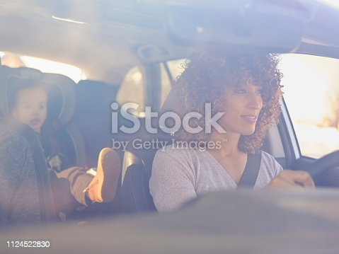 istock Woman in Car with Little Boy 1124522830