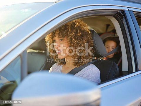 istock Woman in Car with Little Boy 1124524378