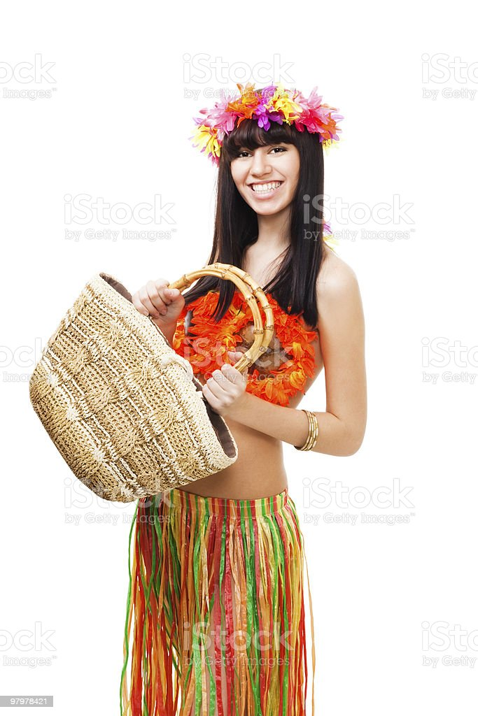 Woman in carnival costume with basket royalty-free stock photo
