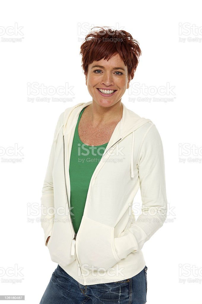 Woman in casual top and jeans royalty-free stock photo