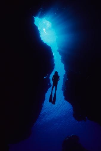 Sun beaming through top of cavern.