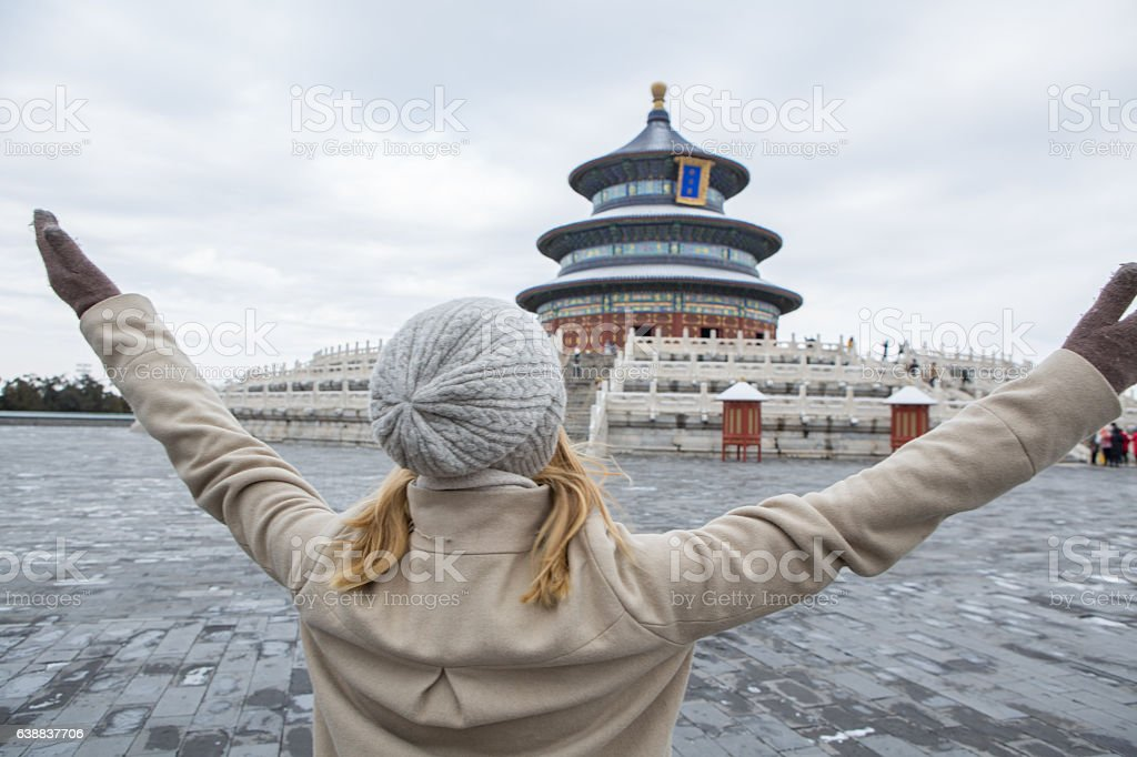 Woman in China arms outstretched stock photo