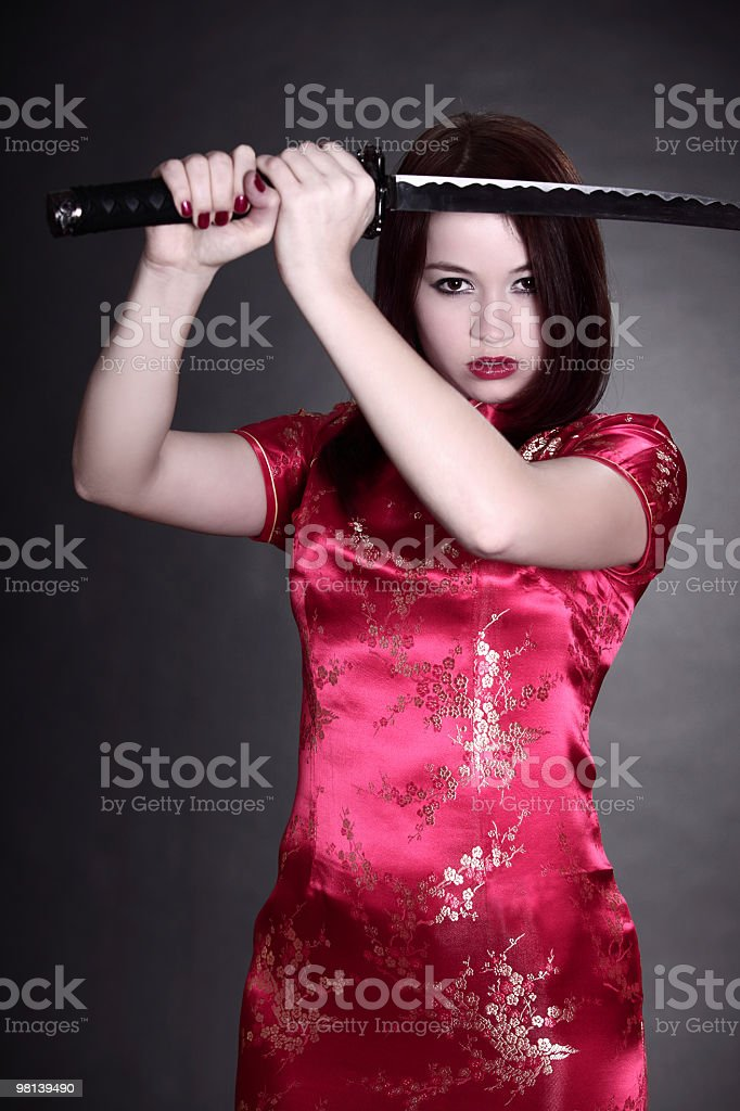 woman in chinese dress royalty-free stock photo
