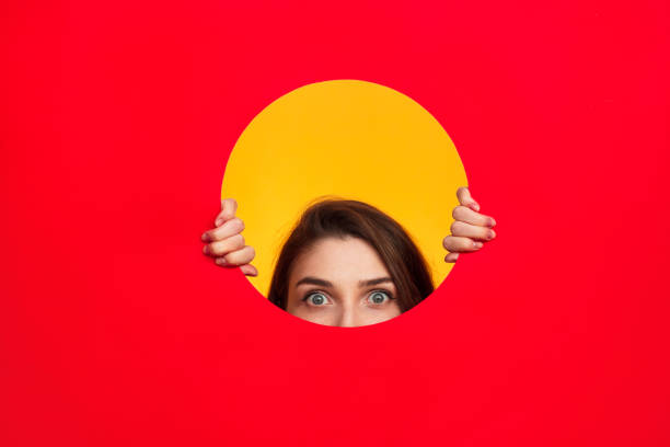 Woman in circle posing stock photo